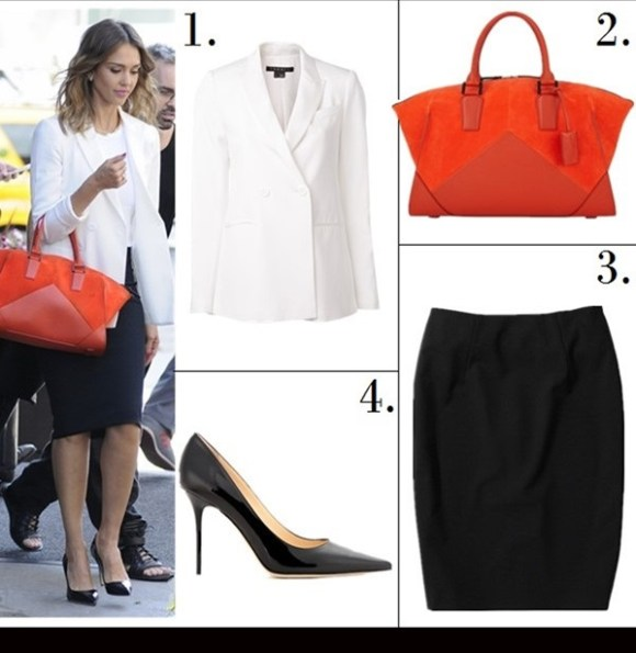 celebrities style 2014; office outfit ideas; wardrobe essentials.  Featured:  1. Theory Jannison Blazer (also here; great alternative here)  2. Narciso Rodriguez Tomato/Cayenne leather and suede Trapezoid duffel (60% off now! similar here here)  3. Boss Hugo Boss 'veronice' Tropical Wool Skirt ($69 here)  4. Jimmy Choo 'Abel' Pump (Exclusive Color)
