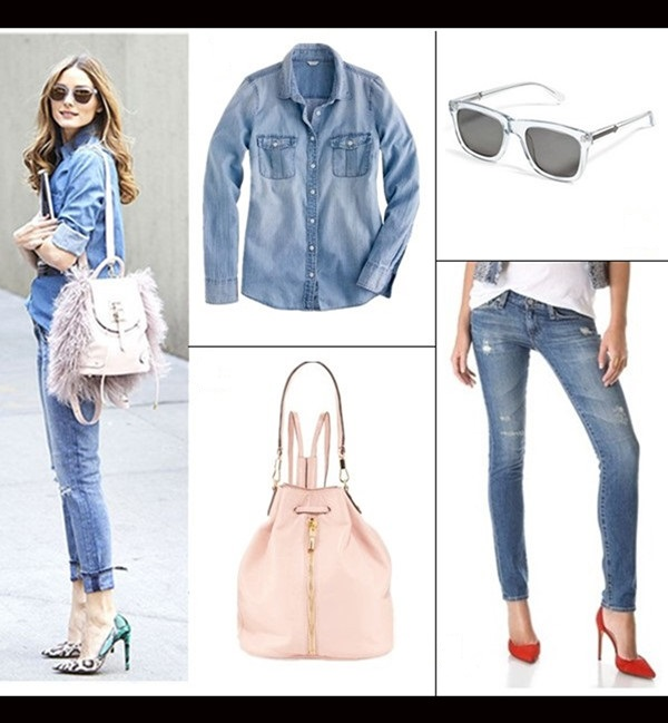 Olivia Palermo street style 2014; How to wear distressed/ripped jeans; denim on denim;   Top: J.Crew keeper chambray (30% off here with 'HISUMMER'!)  Jeans: AG Adriano Goldschmied Stilt Cigarette Jeans (similar here)  Sunglasses: Karen Walker Deep Freeze Sunglasses in Clear (on sale here!)  Bag: Elizabeth and James Cynnie Leather Drawstring Backpack, Pink Beach ($68 here)