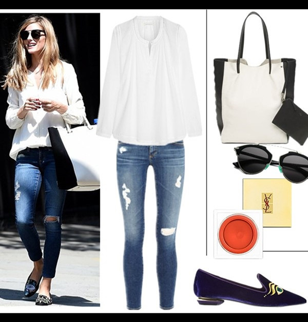 Olivia Palermo street style 2014; How to wear distressed/ripped jeans; denim on denim;   Top: Chinti and Parker Gathered cotton top (similar here)  Jeans: AG Adriano Goldschmied Ankle Legging Jeans  Bag: Club Monaco Ela Scandi Star Tote ($57 here)  Sunglasses: Dior So Real Metal & Plastic Sunglasses (similar here)  Blush: Yves Saint Laurent Creme de blush  Shoe: Nicholas Kirkwood Eye pointed slippers (also here; similar here & here)