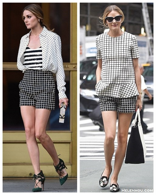 Olivia Palermo street style 2014; How to wear black and white; How to mix checks & stripes,