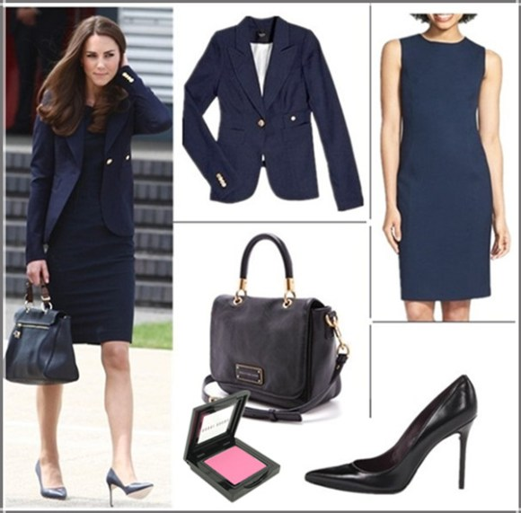 Kate Middleton style 2014; office outfit ideas; wardrobe essentials,  Clockwise from top left:  Smythe One Button Blazer (yes, it's the one her! also here; similar here)  Jones New York 'Mallory' All Season Stretch Sheath Dress  Stuart Weitzman 'Nouveau' Pump (investment worthy here!) Marc by Marc Jacobs Too Hot to Handle Small Top Handle Bag (bigger size here)  Bobbi Brown blush in 'Pale Pink' (Kate Middleton's favorite)
