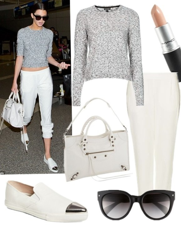 Summer outfit ideas 2014, models off duty, celebrities airport style.    Top: Topshop Space Dye Knit Sweater in Grey  Lip: M·A·C Lipstick in 'Blankety' (the best nude lipstick ever!)  Pants: Topshop Rib Side Stripe Joggers  Sunglasses: Prada 54mm Cat Eye Sunglasses  Bag: Balenciaga Arena Classic City (also here; similar here)  Shoe: Miu Miu Metal Cap Toe Skate Sneaker