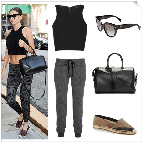 Models off duty, spring/summer 2014 outfit ideas, how to wear crop tops, how to wear sports trend, how to style distressed/boyfriend jeans;   Top: Tibi KATIA FAILLE CROPPED TOP (under $50 here)  Pants: CLU Jersey track pants  Sunglasses: Prada  Bag: Saint Laurent Black Buffed Leather Duffle 6 Bag (great alternative here)  Shoe: Burberry 'Hodgeson' Check Print Espadrille (similar here)
