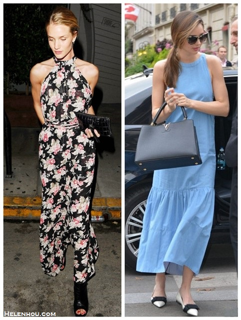 How to wear maxi dresses; summer outfit ideas 2014;  Models off Duty looks;