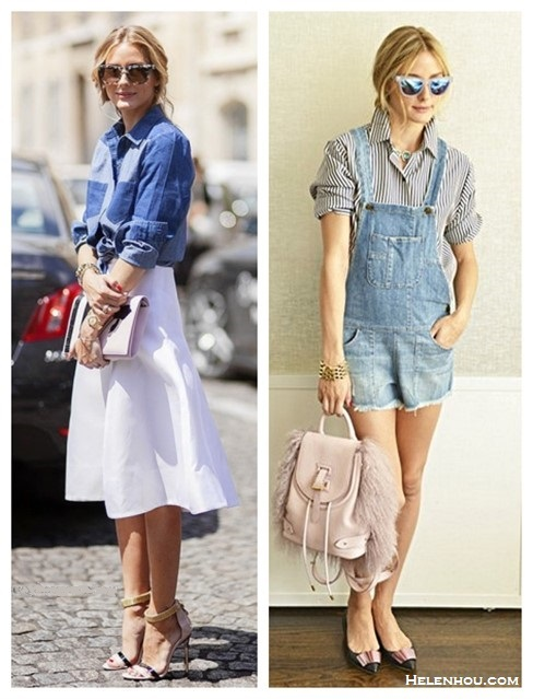 How to wear denim overalls; midi skirt trend.   Summer Outfit Ideas 2014,