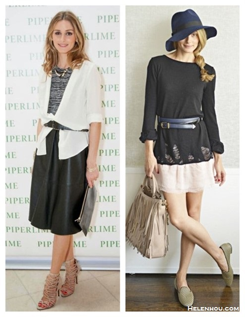 Olivia Palermo style 2014;  spring summer 2014 outfit ideas; how to wear black and white; midi skirt trend, fringe trend