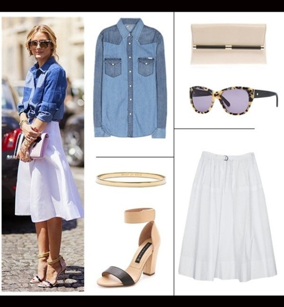 How to wear denim overalls; midi skirt trend.   Summer Outfit Ideas 2014,  Shirt: Mother All My Exes denim shirt (similar on sale here)  Bag: DVF 440 Envelope Embossed Lizard Clutch  Sunglasses: kate spade new york Kia Square Tortoise Sunglasses, Cream/Black  Skirt:  Tibi ULTRA MATTE POPLIN FULL SKIRT (similar here & here)  Shoe: Steven Nuvess Ankle Strap Sandals (love this pair)  Bangle: Kate Spade New York 'idiom - heart of gold' bangle'idiom - heart of gold' bangle