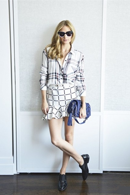 Olivia Palermo style 2014; how to wear plaids and checks; menswear trend