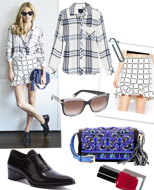 Olivia Palermo style 2014; how to wear plaids and checks.  Clockwise from top left:   Shirt: Rails Hunter Button Down Shirt (also love the cuffed sleeve version)  Skirt: ASOS Scuba Peplum Hem Skirt In Check Print (20% off with PARTYINTHEUSA)  Sunglasses: Marc Jacobs Sunglasses Two Tone Sunglasses (similar here)  Bag: Emilio Pucci Embellished satin clutch (on sale! similar here)  Nail: Bobbi Brown Old Hollywood Nail Polish   Shoe: Prada Black Leather Pointed Toe Heel Loafers (similar here & here  here)