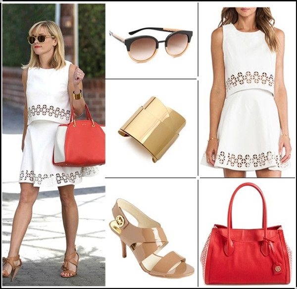 How to wear crop tops at any ages; Fashion trend: Matching pieces Clockwise from top left:  Sunglasses: Tory Burch Eclectic Sunglasses  Lovers + Friends Monica Rose Lucia Crop Top & matching skirt (great alternative here! similar top here)  Bag: Tory Burch 'Small Savannah' Print Canvas Tote (on Reese Witherspoon here)  Shoe: MICHAEL Michael Kors 'Joselle' Sandal (another super duper comfortable pair here!)  Cuff: Alexis Bittar Geometric Ribbon Cuff Bracelet (similar here)
