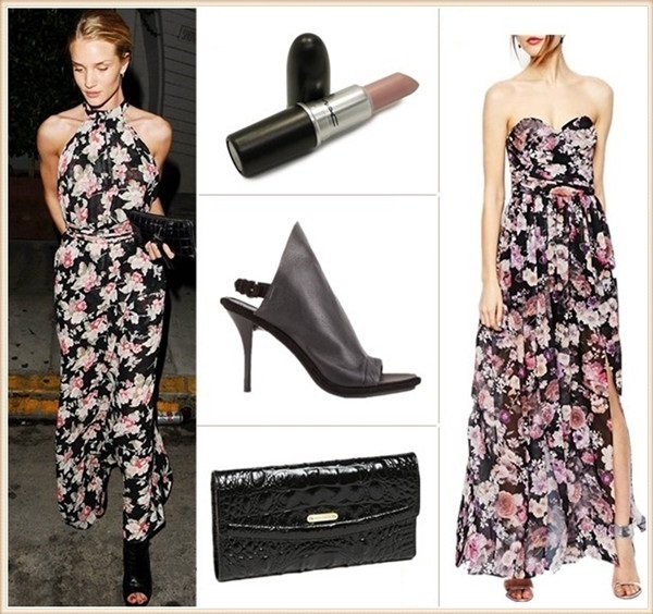 How to wear maxi dresses; summer outfit ideas 2014;  Models off Duty looks;   Lip: M·A·C Lipstick in 'Pretty Please'  Dress: ASOS Bandeau Maxi Floral Dress With Contrast Waist (also love this)  Bag: Brahmin Croc Embossed Checkbook Wallet (on Huntington-Whiteley here)  Shoe: Balenciaga Glove Slingback Sandals (great alternative here & here)