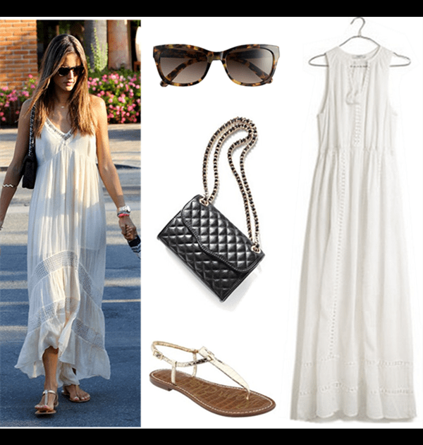 Models off Duty looks; spring/summer 2014 outfit ideas; how to style a white maxi dress.  Shoe: Sam Edelman 'Gigi' Sandal  Sunglasses: Tory Burch 54mm Sunglasses  Dress: Madewell Piazza Maxi Dress (also here; another great style on sale here!)  Bag: Rebecca Minkoff 'Mini Quilted Affair' Shoulder Bag