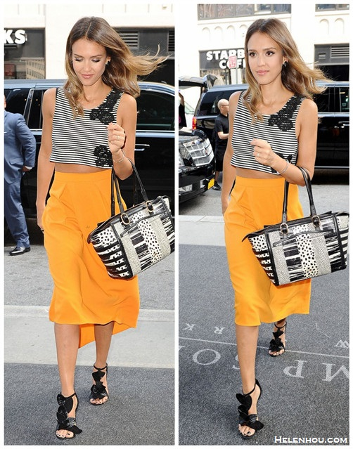 How to wear crop tops; celebrity street style; spring/summer 2014 outfit ideas.