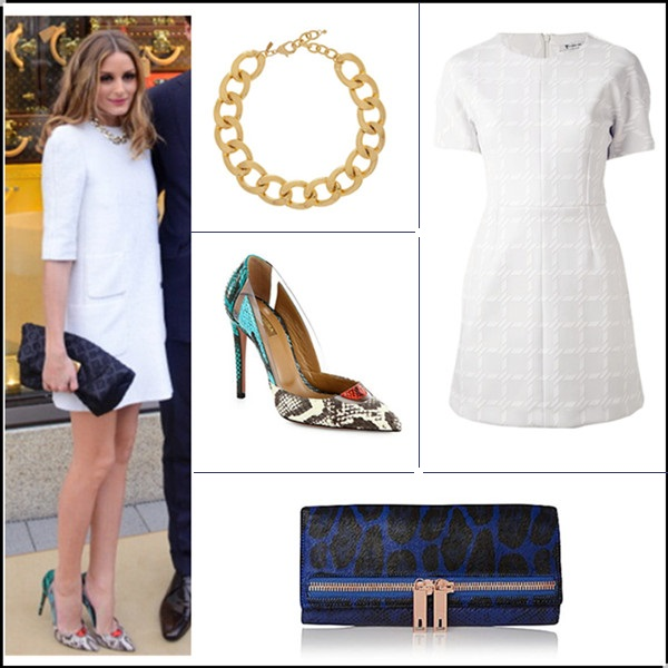 how to wear white dresses; celebrity street style, spring/summer outfit ideas 2014; Wear white after labor day.   Clockwise from top left:  Top: Tibi Silk crepe de chine top  Sunglasses: Olivia Palermo X Westward Leaning Primrose Sunglasses  Skirt: Tibi Fluted cloqué skirt  Shoe: Aquazzura Amazon elaphe sandals (last seen on her here; great alternative here)