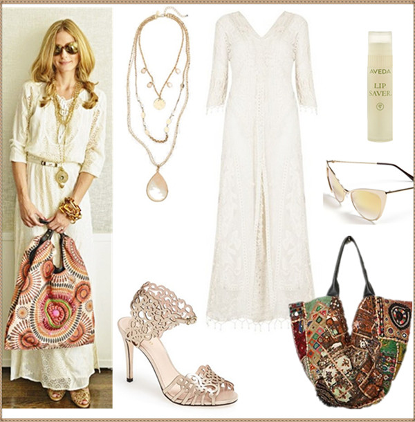 how to wear white dresses; celebrity street style, spring/summer outfit ideas 2014,  Clockwise from top left:  Necklace: Sara Bella Multistrand Stone Pendant Necklace  Dress: Kate Moss for Topshop Crochet Lace Maxi Dress (Online Only) (LOVE LOVE this stunning beauty!) Lip: Aveda lip saver™' Lip Balm  Sunglasses: Tom Ford 'Nastasya' 56mm Sunglasses  Bag: Free People Namaste Vegan Tote (similar here) Shoe: Klub Nico 'Moxie' Sandal (another great buy here!)