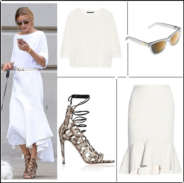 how to wear white dresses; celebrity street style, spring/summer outfit ideas 2014; Wear white after labor day.   Clockwise from top left:  Necklace: Kenneth Jay Lane Gold-plated chain-link necklace (under $80 here & here)  Dress: Alexander Wang cap sleeve dress (more great styles on sale here!)  Clutch: Ted Baker Blue Animal Print Clutch Bag (similar here)  Shoe: Aquazzura Positano Snakeskin Pumps (similar on sale here & here)