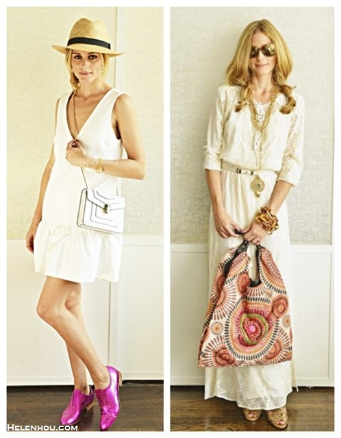 how to wear white dresses; celebrity street style, spring/summer outfit ideas 2014,