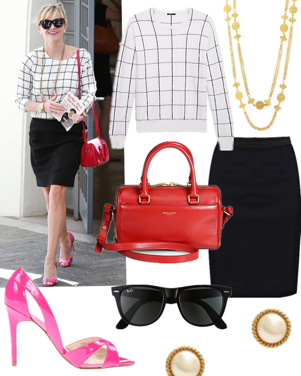 Stylish Work Outfits; How to wear colored bags, celebrity street style  2014; spring/summer outfit ideas,   Top: Theory Dreamerly Pullover in Harmonious (love this skirt version spotted on Olivia Palermo) Necklace: Ben-Amun Gold-plated necklace (similar here)  Skirt: French Connection indigo pencil skirt (or this one)  Earring: Kate Spade New York 'seaport' faux pearl studs  Sunglasses: Ray-Ban 'Classic Wayfarer XL' 54mm Sunglasses  Bag: Saint Laurent Duffle 3 Bag (similar here)  Shoe: Ivanka Trump Tatiana (similar here & here)