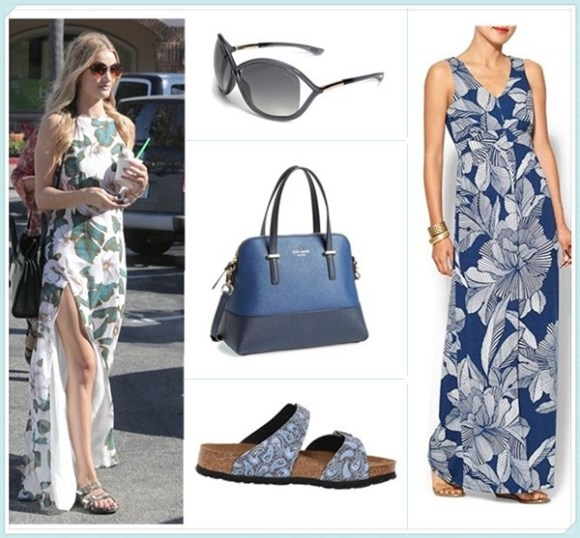 How to wear floral print dresses; celebrity street style  2014; spring/summer outfit ideas, Clockwise from top left:  Sunglasses: Tom Ford 'Whitney' 64mm Open Side Sunglasses  Dress: AUGUST SALT Isla V-Neck Maxi Dress  (on sale!)  Shoe: Birkenstock Sydney by Papillio  Bag: kate spade new york 'cedar street - maise' satchel