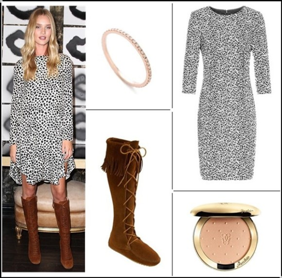 What to wear for a girl night out; models off duty looks; transitional dressing;  Clockwise from top left:   Gabriela Artigas Axis Ring (on Huntington-Whiteley here)  Reiss toulon black and white leopard print dress (on sale! on Huntington-Whiteley here & here)  Guerlain 'Les Voilettes' Evanescent Pressed Powder Compact  Minnetonka Lace-Up Boot (anther great buy here!)