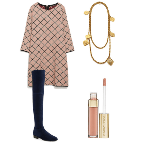 offic chic look, over the knee boots, vintage chanel necklace and sheatch dress