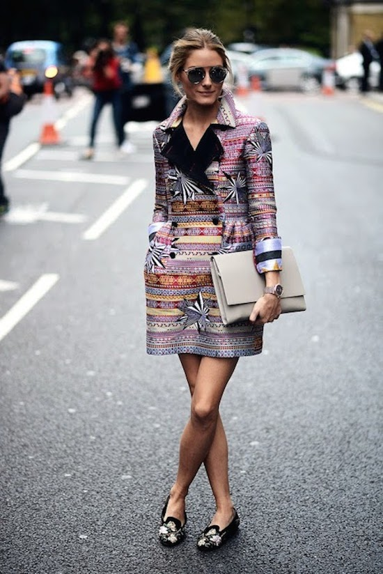 Olivia Palermo at London Fashion Week Matthew Williamson Jacquard floral coat, Dior sunglasses, alexander mcqueen loafer