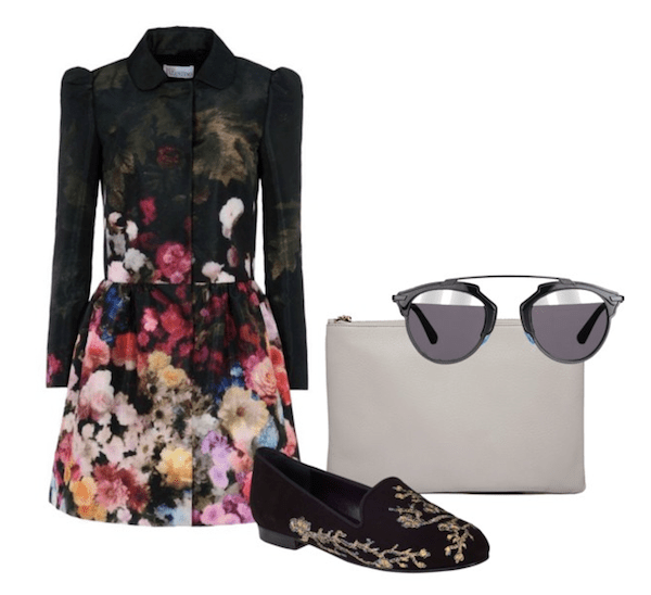 Olivia Palermo inspired look-Jacquard floral coat, Dior sunglasses, emboriedered loafer