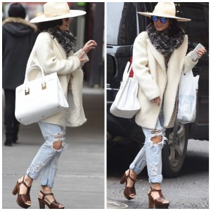 Transition Dressing: White Coat & Platform Sandal