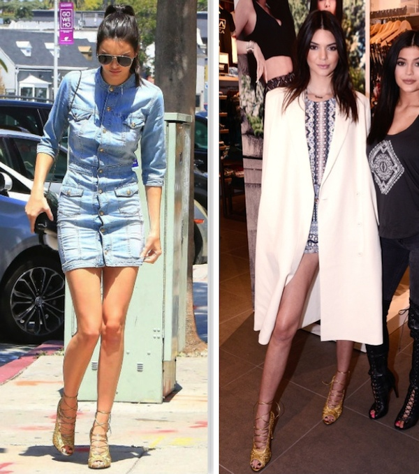 Kendall Jenner wearing balmain denim dress, tom ford lace up sandals, kendall and kylle romper