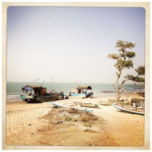 Color Instagram image of boats on beach 'Fishing Boats', The Gambia © Jason Florio