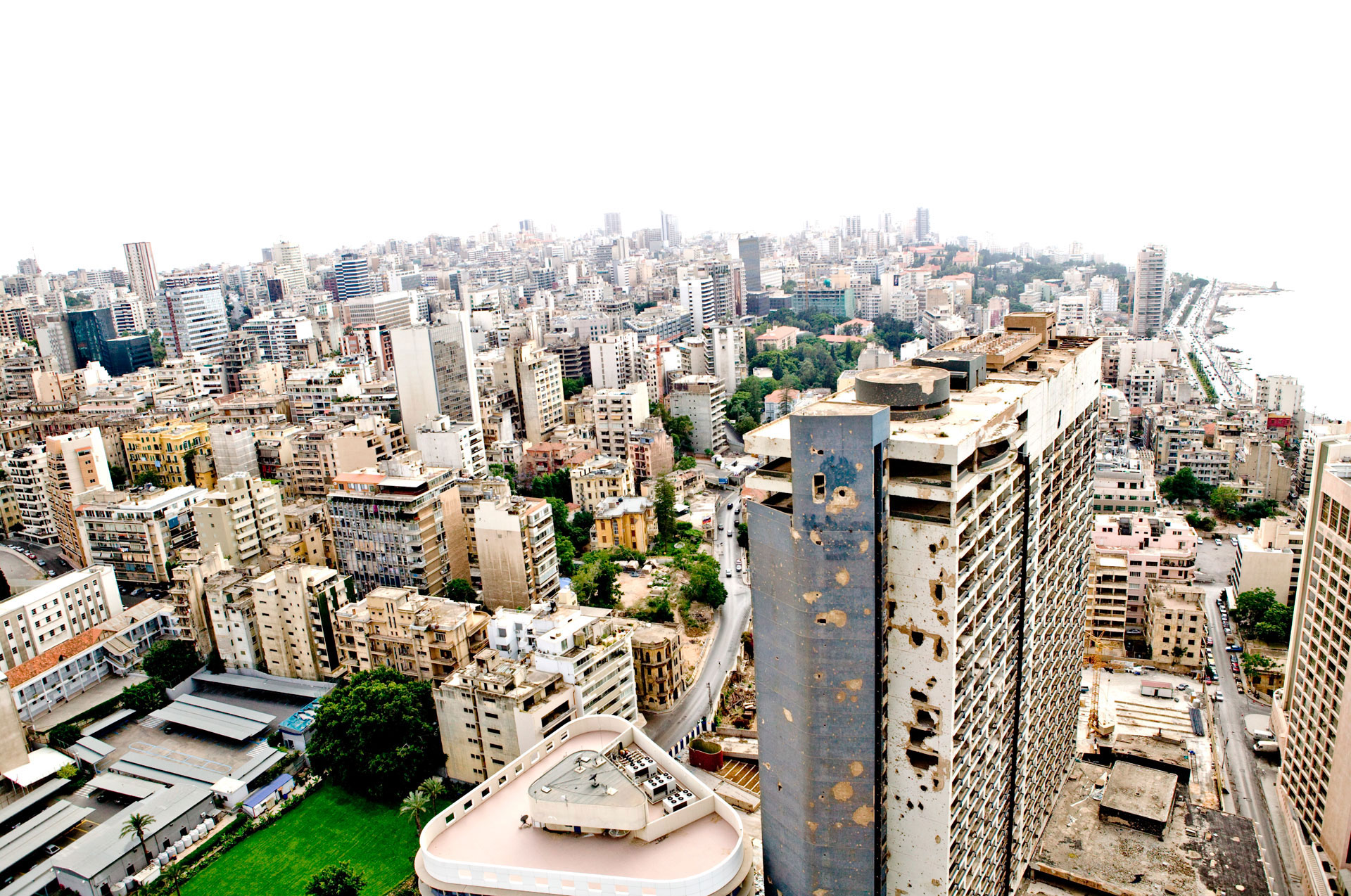 Holiday Inn, Beirut ©Jason Florio - aerial colour image of the bombed out hotel, cityscape