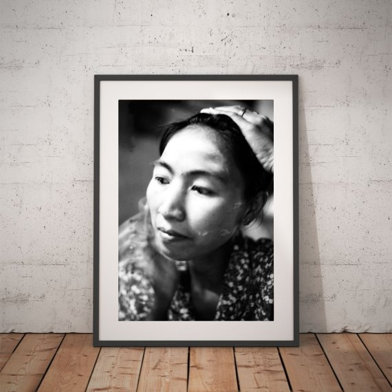 'BURMESE WOMAN WITH POWDERED FACE' © JASON FLORIO BW portrait