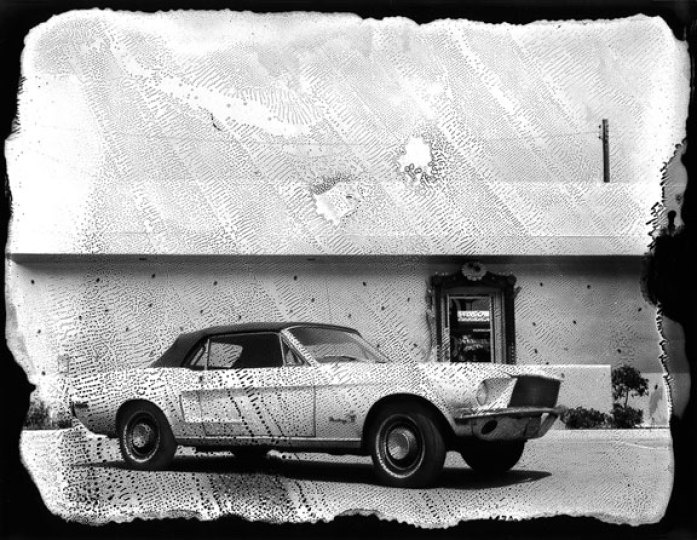 Michel Delsol fine art photography - Polaroid of a classic Mustang car, in LA, 1986