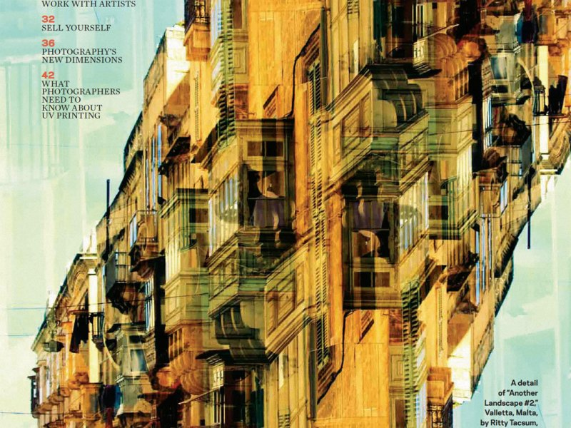 Image of the opening page, with a photo of a mulit-layered building in Malta by Ritty Tacsum, from PDN (Photo District News) - feature about selling fine art photography online