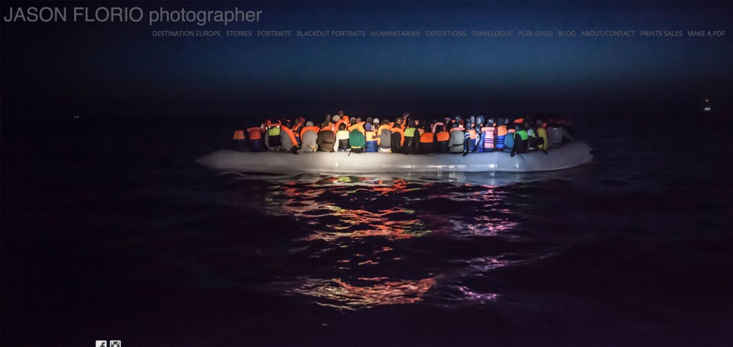 ©Jason Florio - migrants spotted in a dinghy in the Mediterranean Sea at night, post-rescue by MOAS NGO
