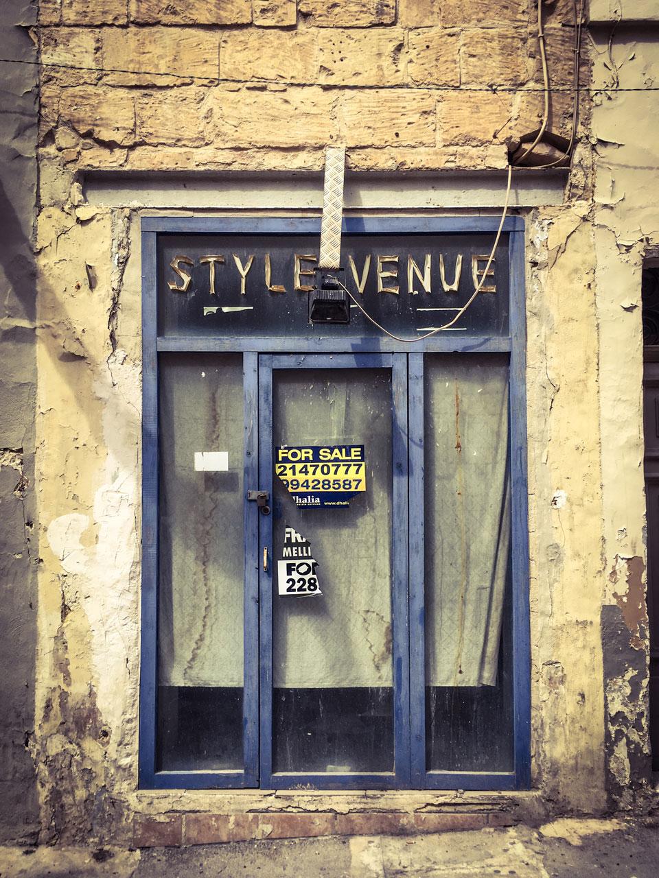 disappearingMalta - Style Venue, Triq il-Knisja I-Qadima, Birkirkara, Malta - vintage storefront ©Helen Jones-Florio photography prints