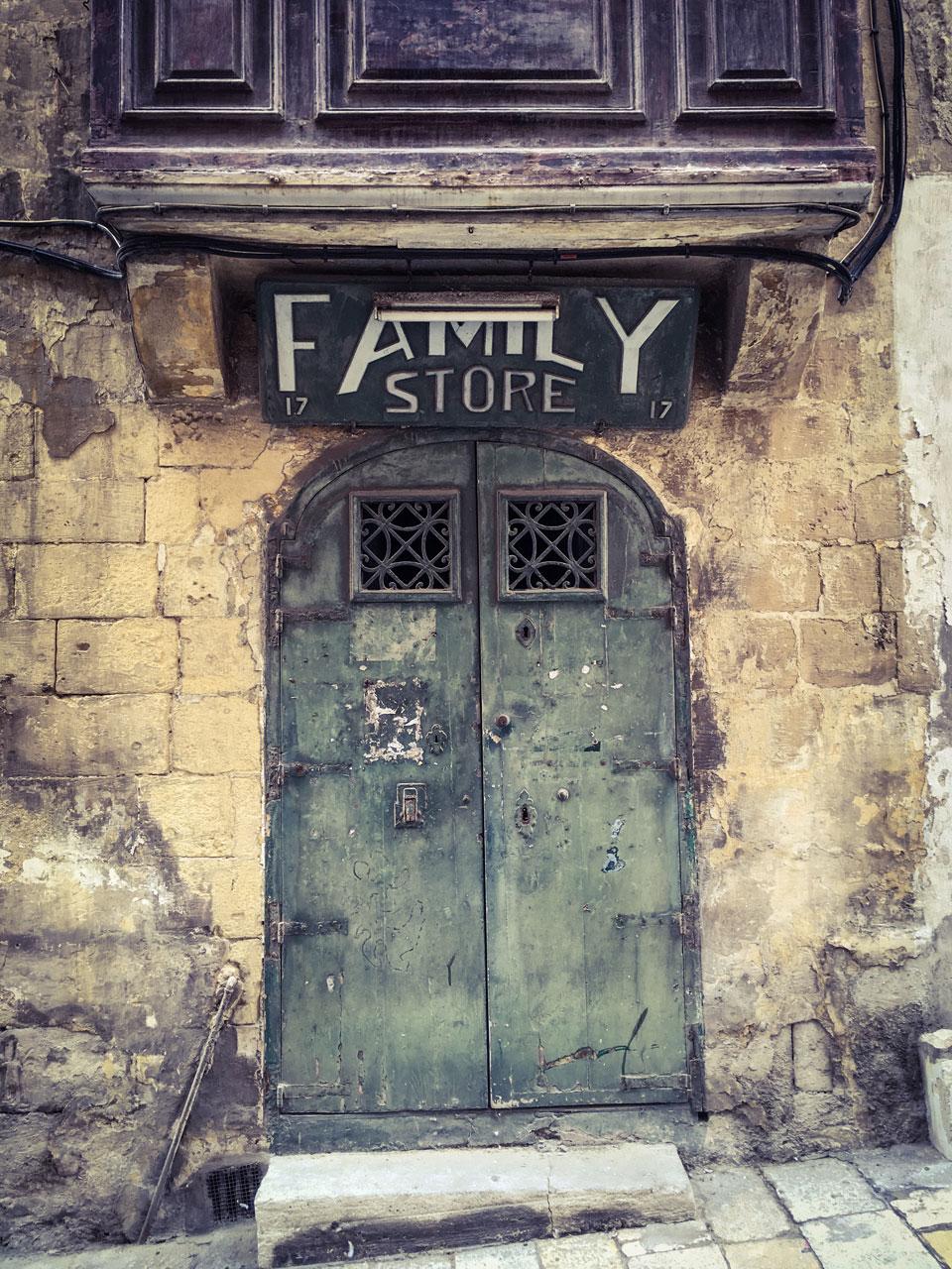 disappearingMalta - The Family Store, Triq I-Arcisqof, Valletta, Malta - vintage storefront ©Helen Jones-Florio photography prints
