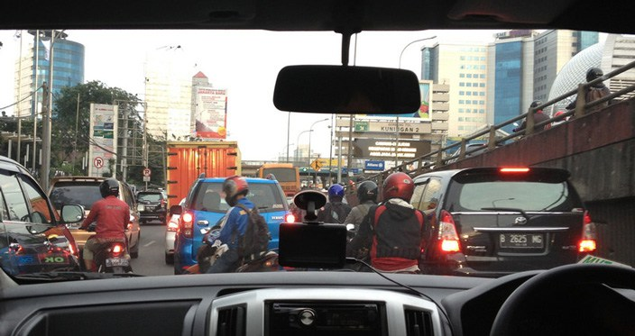A quiet day for traffic in Jakarta