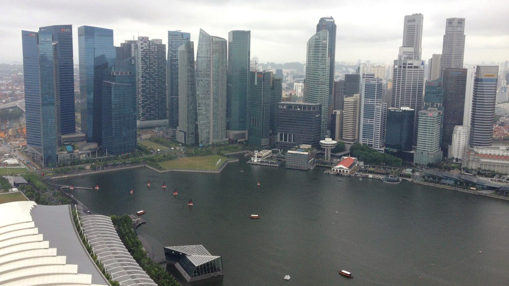 The view from the Skypark at the top of the Marina Bay Sands hotel, Singapore