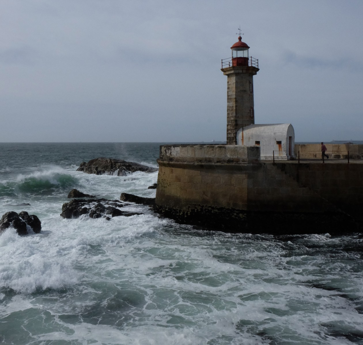 The lighthouse where the Douro river meets the Atlantic at Foz
