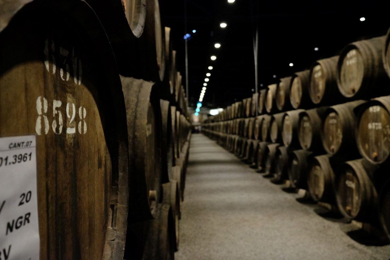 Barrels of Port ageing at Taylor's Port wine lodge