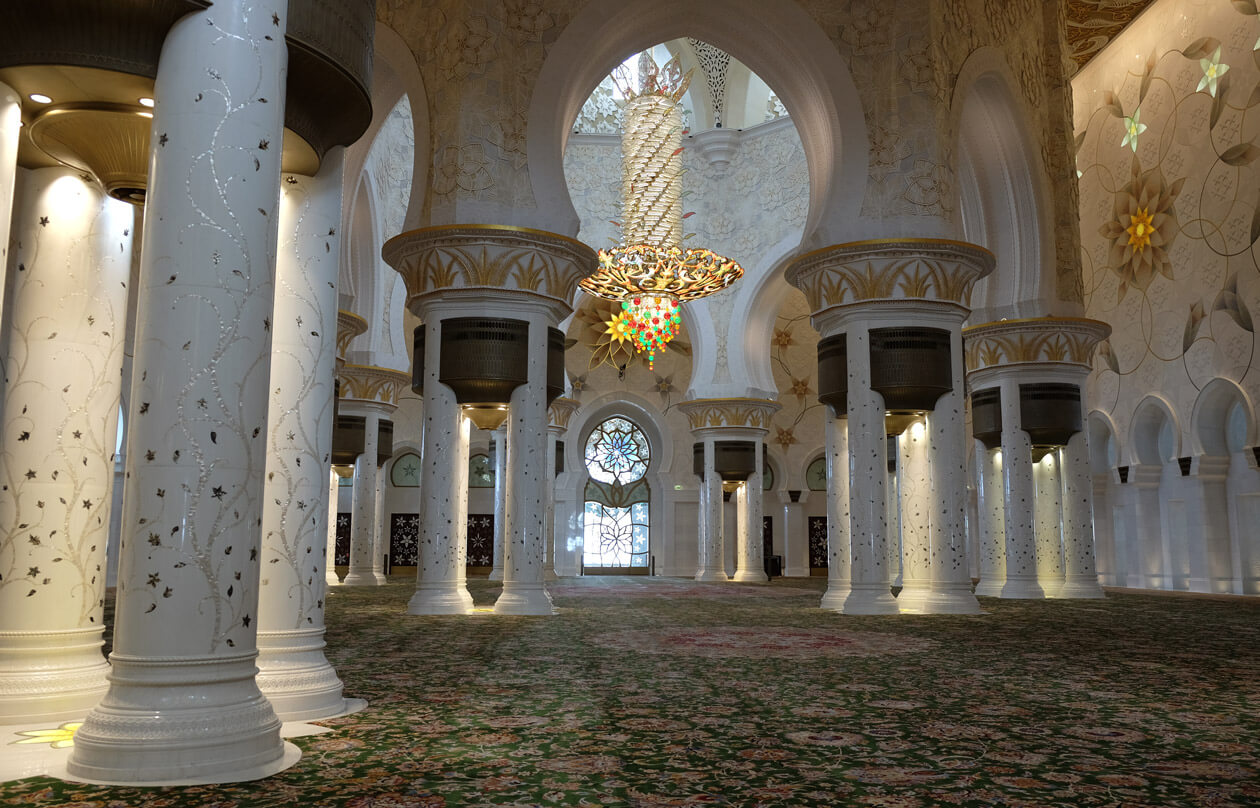 The inside of the mosque and the world's largest carpet