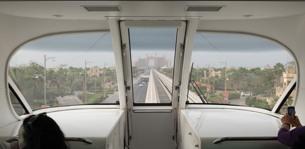 Travelling on the monorail to Atlantis at the head of the Palm