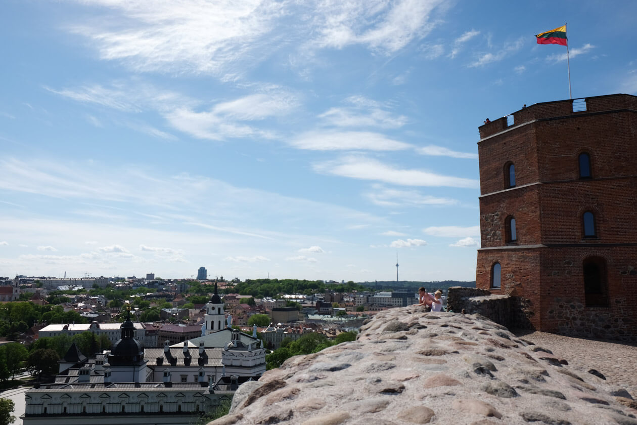 Looking out from the Upper Castle towards Vilnius TV tower
