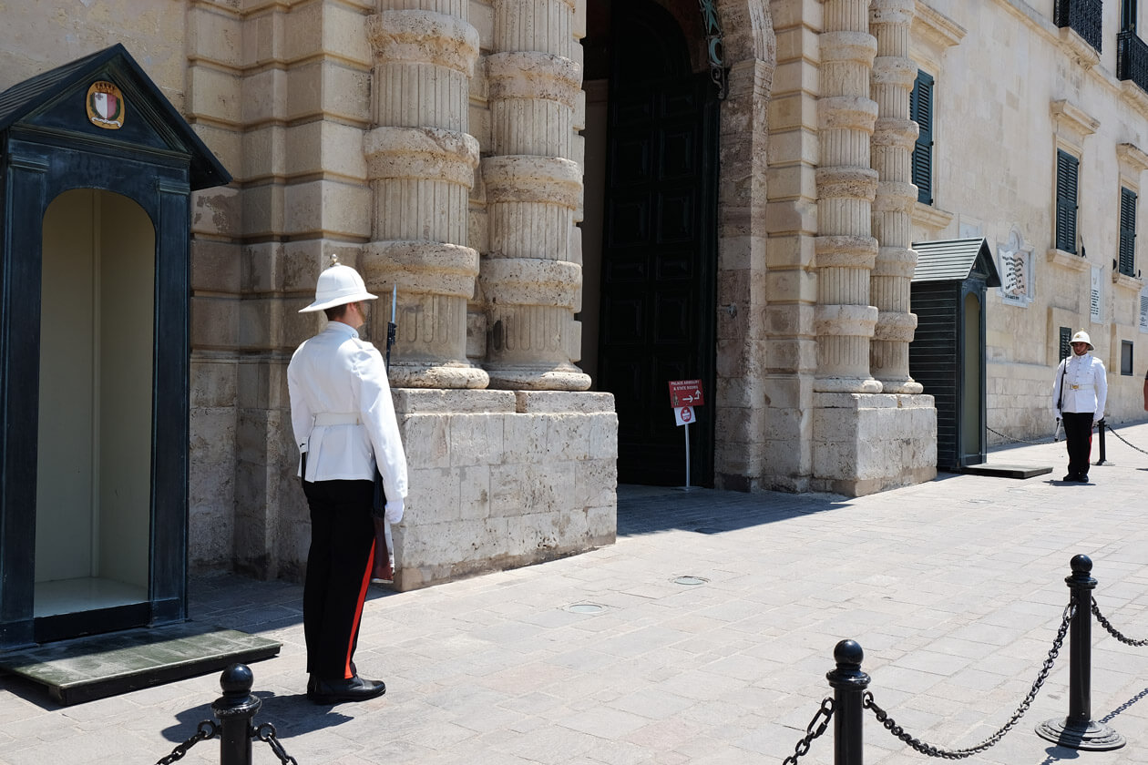 Changing the guard outside the Palace of the Grand Master