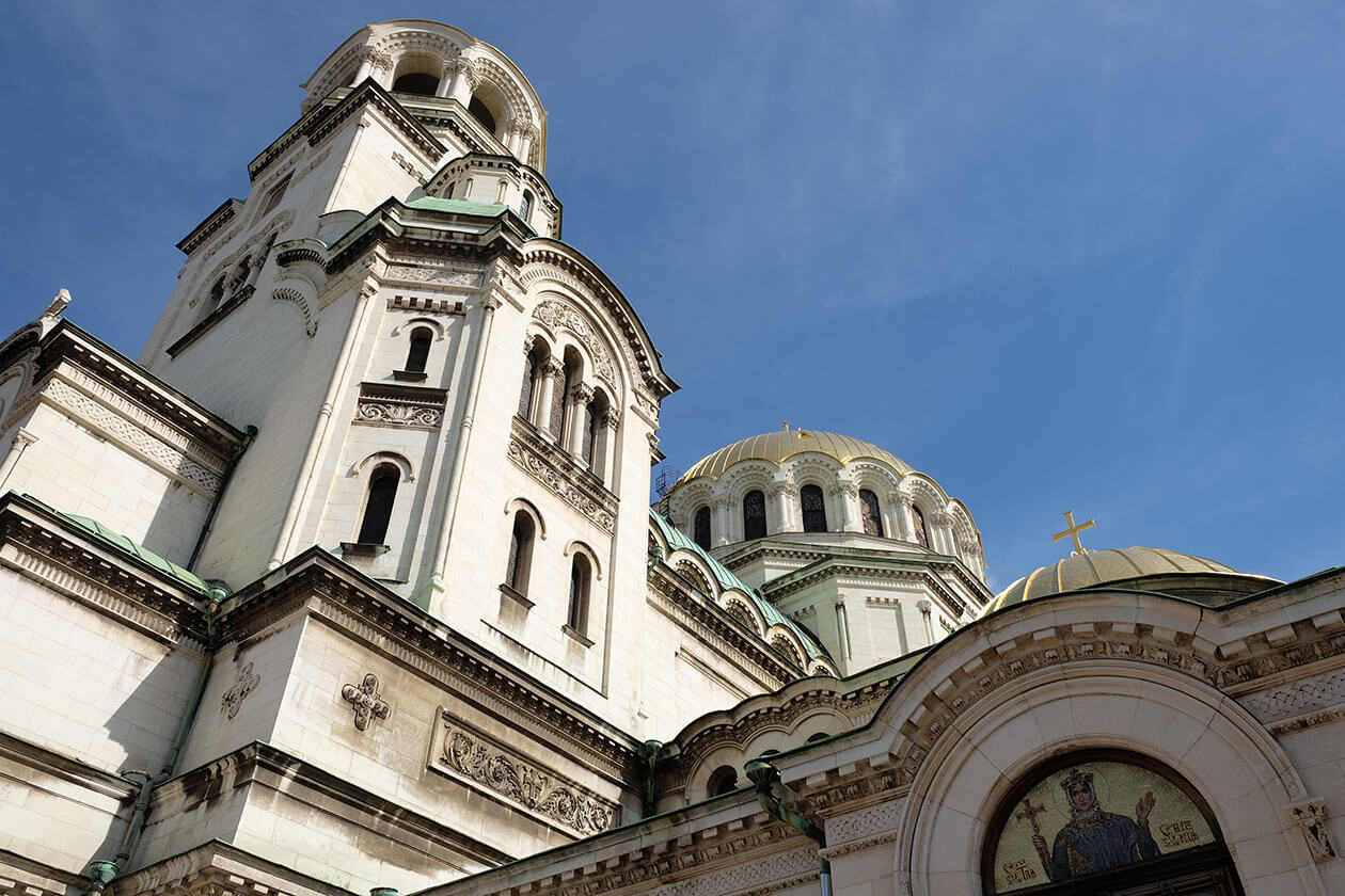 The domes of Alexander Nevsky Cathedral are clad with real gold