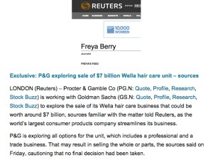 NEWS. Proctor & Gamble Explores Wella Sale – 2014