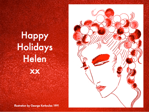 Happy Holidays Balloon Illustration - 1991