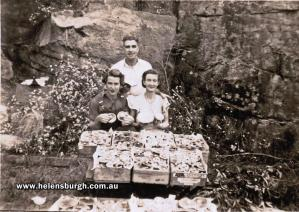 Mac and Lillian Simpson with my mother Jean Anderson [front left] with picked mushrooms circa October 1950