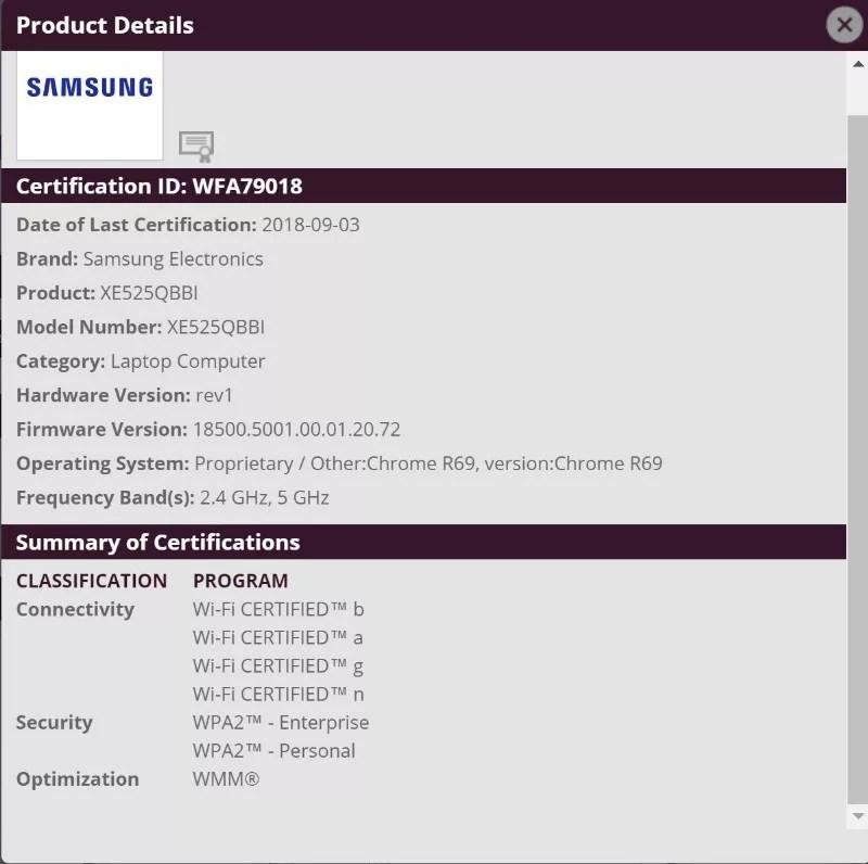 Samsungから「XE525QBBI」というChromebookがリリースされるかも